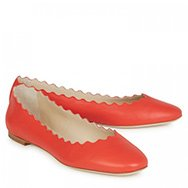 CHLOÉ  - Scalloped leather ballet flats