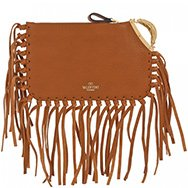 VALENTINO - C-Rockee fringed leather clutch