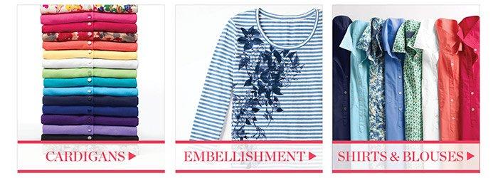 Shop cardigans. Shop embellishment. Shop shirts and blouses.