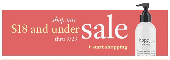 shop our $18 and under sale thru 3/23