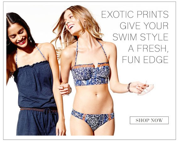Exotic Prints Give Your Swim Style a Fresh, Fun Edge. Shop Now.