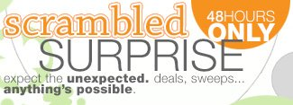 SCRAMBLED SURPRISE: Expect the unexpected - deals, sweeps...anything's possible.48 hours only.