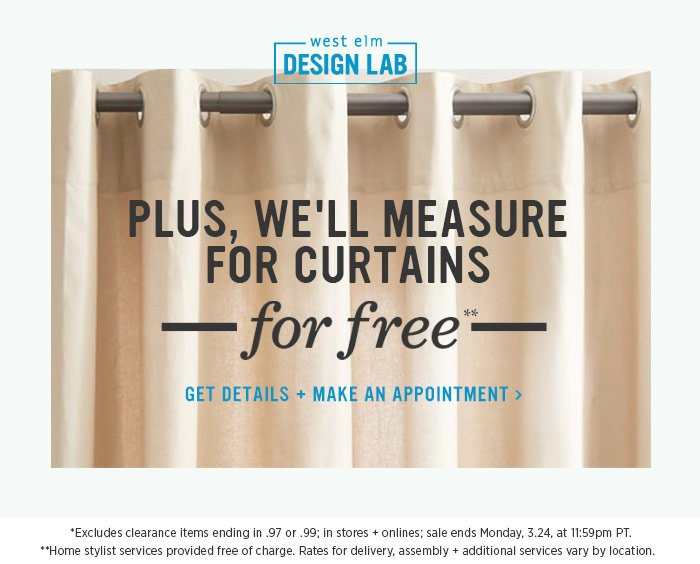 west elm design lab. Plus, we'll measure for curtains for free** Get details + make an appointment.