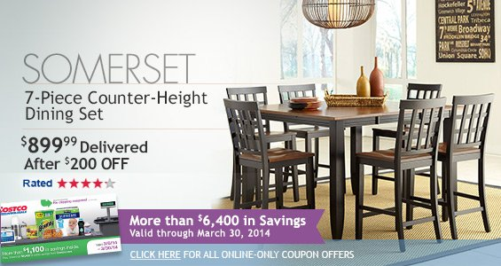 Somerset 7-Piece Counter Height Dining Set $899.99 Delivered After $200 OFF.