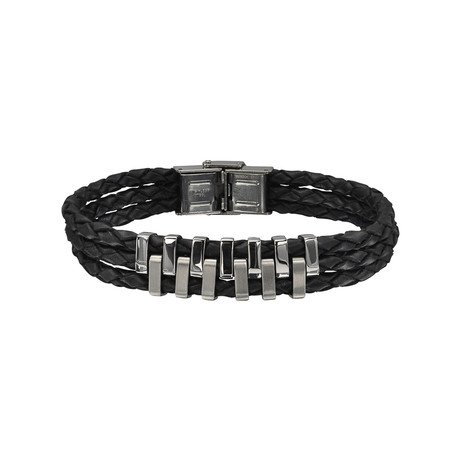 Leather Triple Band Bracelet With Puzzle Pieces Bar Pattern // Black