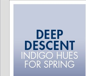 DEEP DESCENT INDIGO HUES FOR SPRING