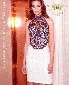V I P Lace Halter Neck Dress