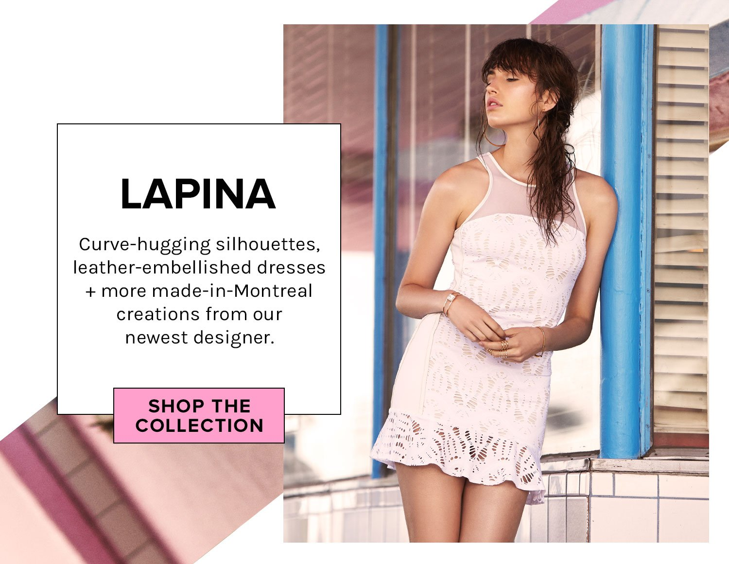 LAPINA. Curve-hugging silhouettes, leather-embellished dresses + more made-in-Montreal creations from our newest designer.