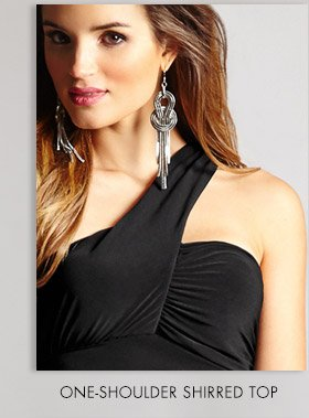 ONE-SHOULDER SHIRRED TOP
