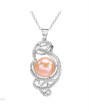 Sterling Silver Necklace 2.26 CTW Pearl , Cubic Zirconia