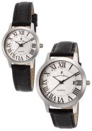 Men's & Women's Silver Dial Black Genuine Leather Set of 2