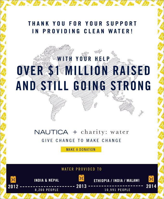 With Your Help Over $1 Million Raised and Still Going Strong! Nautica + charity: water