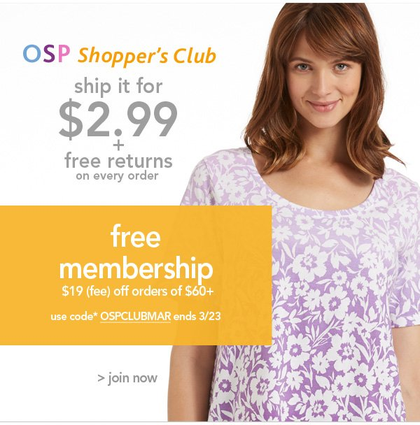 Join the OSP Shoppers Club