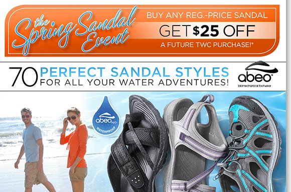 Shop your favorite ABEO B.I.O.system adventure sandals in 70 great styles and experience the 3-D fit and comfort of built-in orthotics! Plus, save $25 on a future purchase during our Spring Sandal Event!* Shop now for the best selection at The Walking Company.