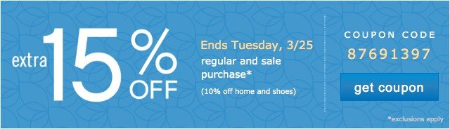 Extra 15% off. Online only. Get coupon.