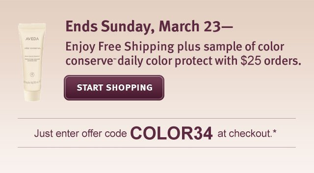 enjoy free shipping plus sample of color sonserve daily hair protect with $25 oreders. start shoppinh.