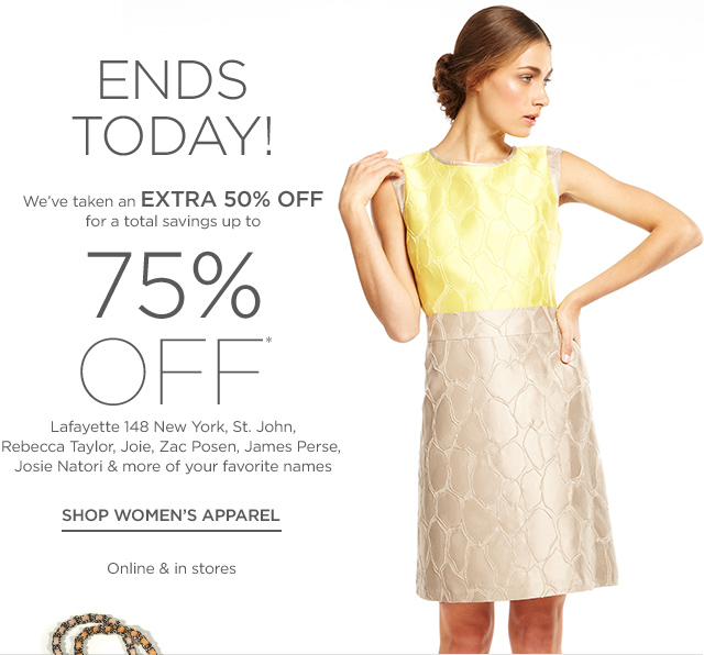 Up to 75% off Women's Apparel