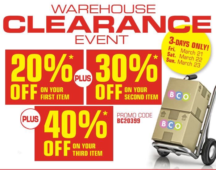 Warehouse Clearance Event!