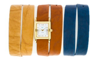 Gold Interchangeable Gift Box: Washed Camel, Tobacco and Royal Blue Straps