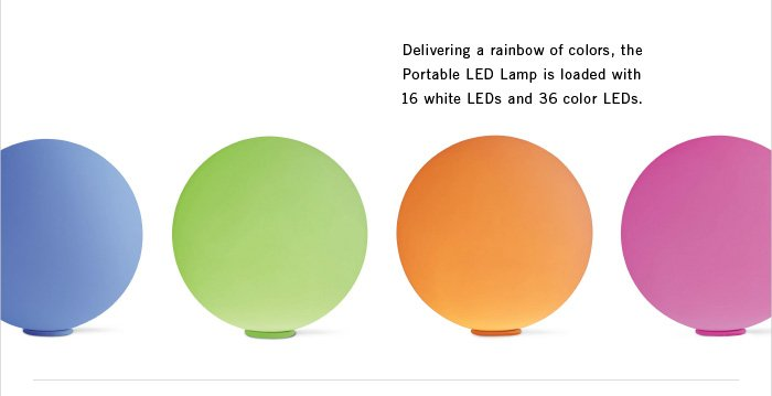 Delivering a rainbow of colors, the Portable LED Lamp is loaded with 16 white LEDs and 36 color LEDs.