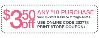 $3.50 off any $10 purchase Coupon