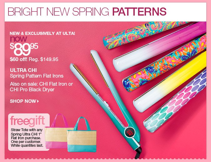 """Ultra Chi Spring Pattern Flat Irons - now $89.95! Free Straw Tote with any Spring Ultra Chi 1"""" Flat Iron Purchase."""