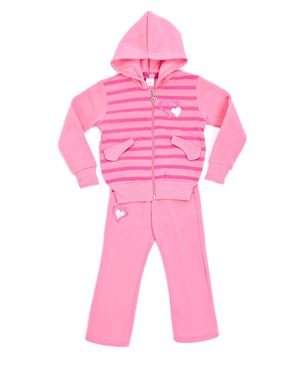 Coney Island Girl's Hearts Striped Jacket & Pants Set