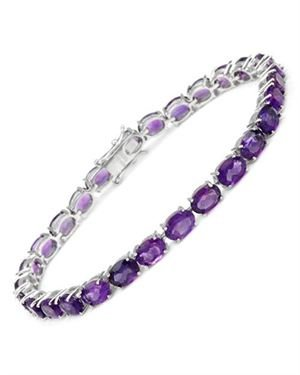 Sterling Silver Bracelet with 19.05 CTW Amethysts