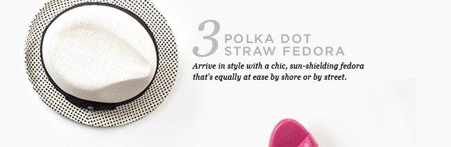 POLKA DOT STRAW FEDORA. SHOP NOW >