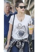 Kymerah Shark Tee in Heather Grey as seen on Alessandra Ambrosio and Kourtney Kardashian