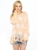 WILDFOX White Label All Over Love Lennon Sweater in Coral Shell