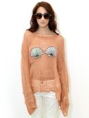 Wildfox White Label Shell Bra Lost Sweater in Cork