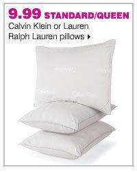9.99 standard/queen Calvin Klein or Lauren Ralph Lauren pillows.