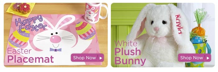 Easter Placemat & Personalized Plush Bunny