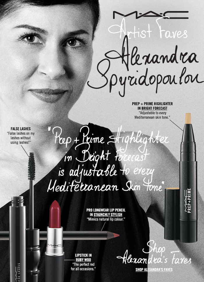 "M·A·C Artist Faves ALEXANDRA SPYRIDOPOULOU ""Prep + Prime Highlighter in Bright Forecast is adjustable to every Mediterranean skin tone."" Shop Alexandra's Faves"