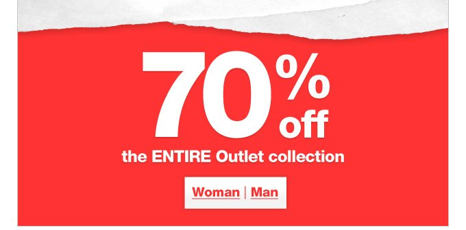 70% off the entire outlet collection