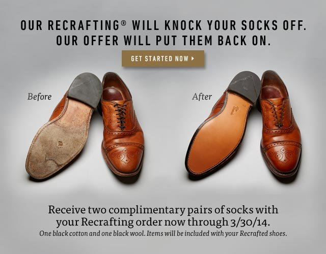 Receive two complimentary pairs of socks with your Recrafting order now through 3/30/14. Start Now >