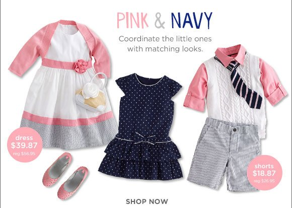 Pink & Navy. Coordinate the little ones with matching looks. Dress $39.87 (reg. $56.95). Shorts $18.87 (reg. $26.95). Shop Now.
