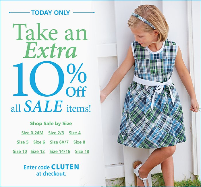 Take an extra 10% off all sale items with code CLUTEN at checkout
