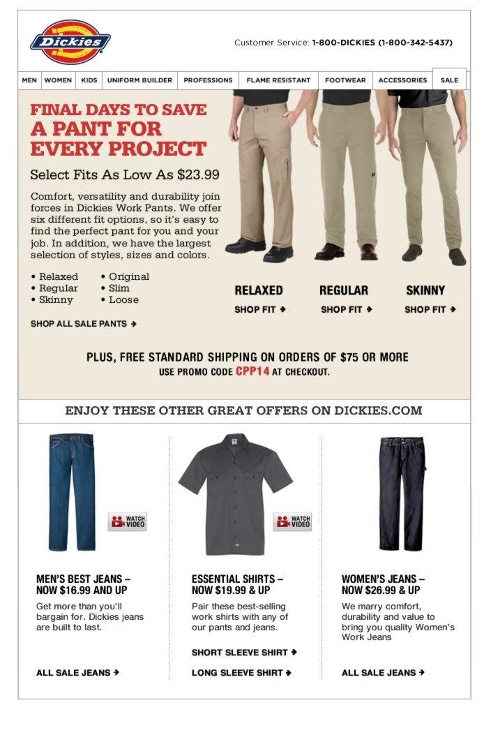 Last Chance: Pants $23.99 & Up, Shirts $19.99 & Up