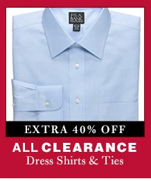 Clearance Dress Shirts & Ties - extra 40% Off