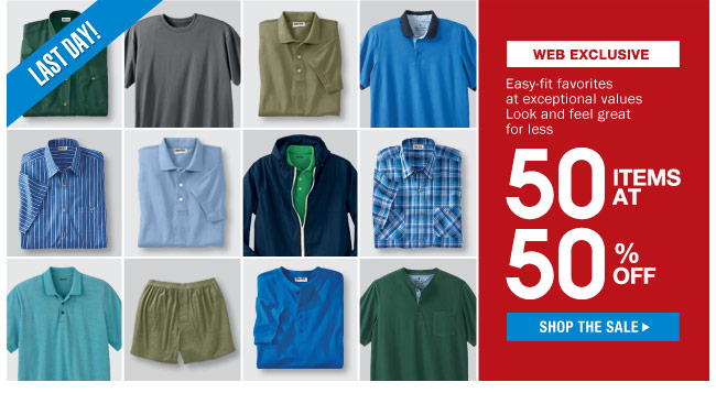 web exclusive - 50 items at 50 percent off - shop the sale