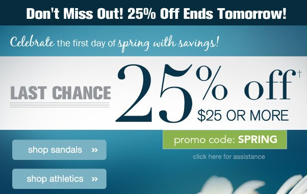 25% Off Ends Tomorrow! Hurry!