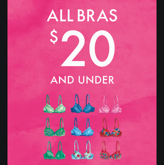 ALL BRAS $20 AND UNDER