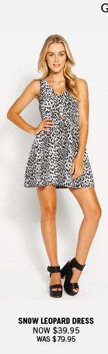 Go Mono In Black And White. Snow Leopard Dress Now $39.95 Was $79.95