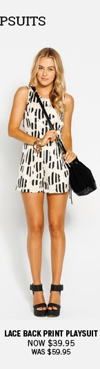 Lace Back Print Playsuit Now $39.95 Was $59.95