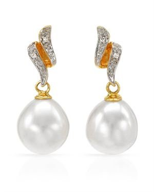 18K Y/G Earrings with 0.02 CTW Pearls, Diamond