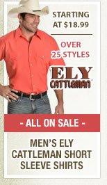 Mens Ely Cattleman Short Sleeve Shirts
