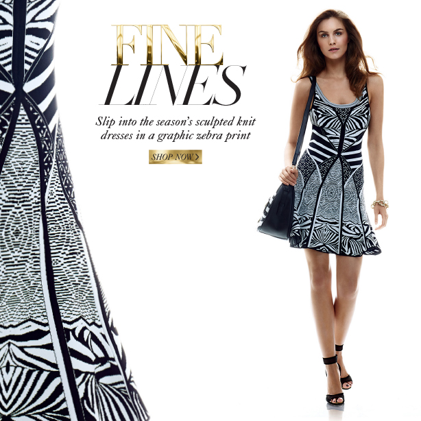 Fine Lines: Slip into the season's sculpted knit dresses in a graphic zebra print. Shop Now.