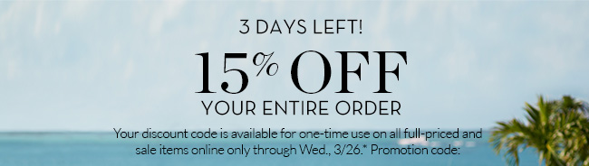3 DAYS LEFT 15% OFF